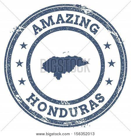 Vintage Amazing Honduras Travel Stamp With Map Outline. Honduras Travel Grunge Round Sticker.