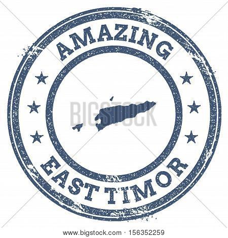 Vintage Amazing Timor-leste Travel Stamp With Map Outline. Timor-leste Travel Grunge Round Sticker.