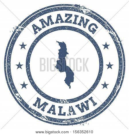 Vintage Amazing Malawi Travel Stamp With Map Outline. Malawi Travel Grunge Round Sticker.