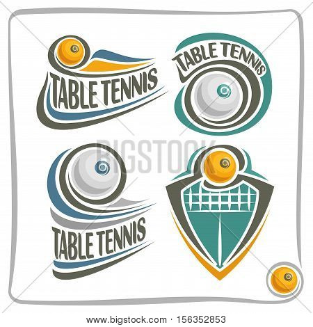 Vector abstract logo Table Tennis Ball, decoration sign sports club, simple ping pong ball flying in goal with net, set isolated sporting equipment icon, design concept insignia blazon.