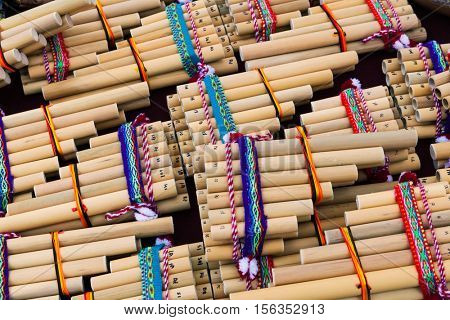 wooden pan flute on a street market