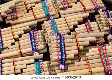wooden pan flute on a street market