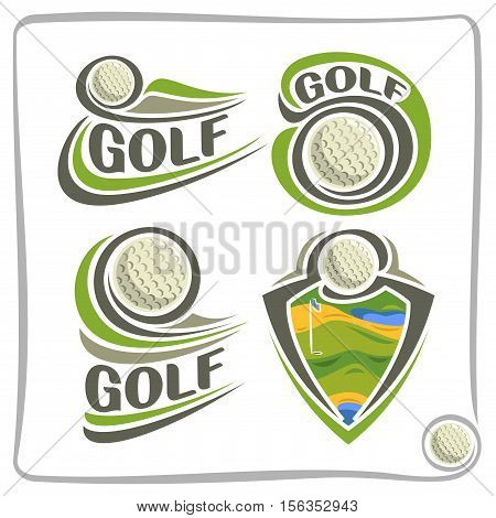 Vector abstract logo Golf Ball, decoration sign sports club, simple line contour ball flying above green course field, set isolated sporting cup equipment icon, flat design concept school blazon.
