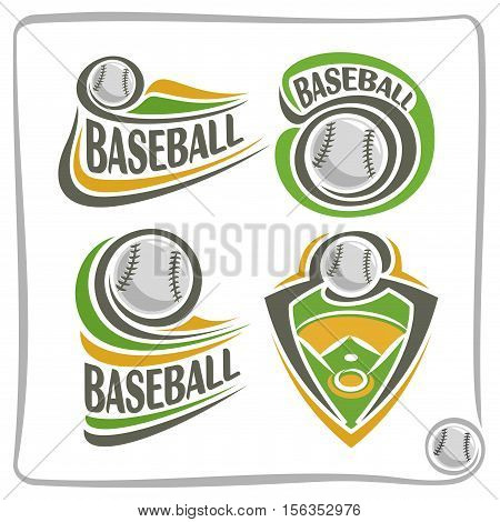 Vector abstract logo Baseball Ball, decoration sign sports club, simple line contour stitched ball flying above green field, isolated sporting equipment icon, flat design school blazon.