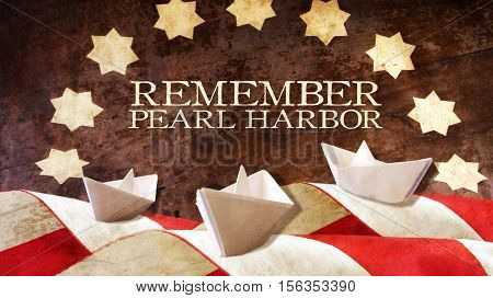 Remember Pearl Harbor. Usa Flag Waves on Wood and Paper Boat