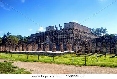 Temple warriors in Mexico Chichen itza .yucatan