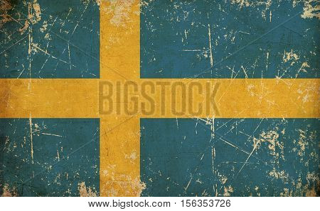 Swedish Flag Flat Aged