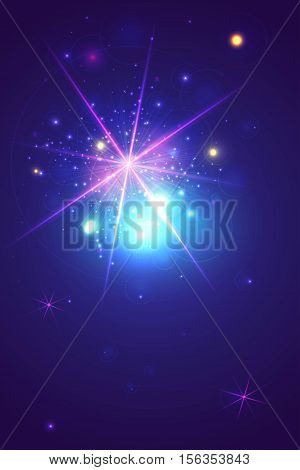 Vector abstract glowing background with stars and circles glow. Easy editable