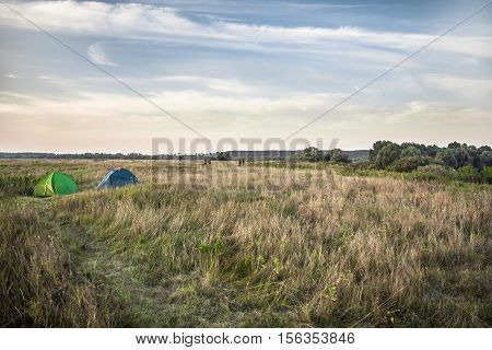 Tents on camping site in field during hunting season
