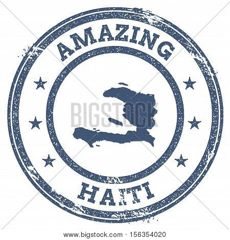 Vintage Amazing Haiti Travel Stamp With Map Outline. Haiti Travel Grunge Round Sticker.