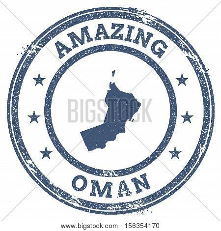 Vintage Amazing Oman Travel Stamp With Map Outline. Oman Travel Grunge Round Sticker.