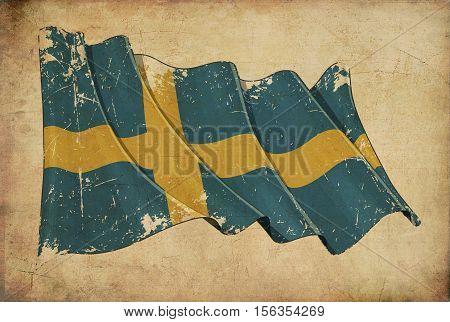 Swedish Grunge Flag Textured Background