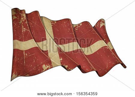 Danish Aged Scratched Flag