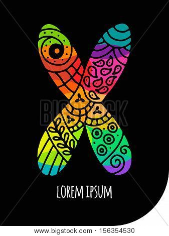 Colorful letter X in creative hand drawn / calligraphy mosaic style. High detail rainbow  letter for decoration. Isolated vector illustration.