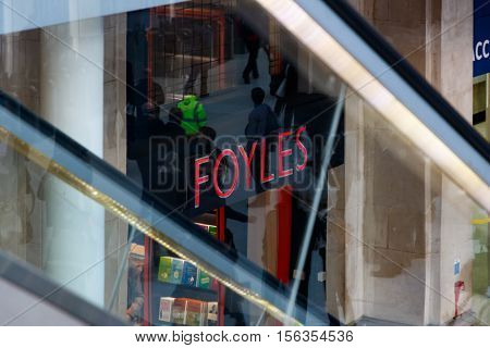 London UK - October 18 2016 - Foyles a book shop located at Waterloo train station