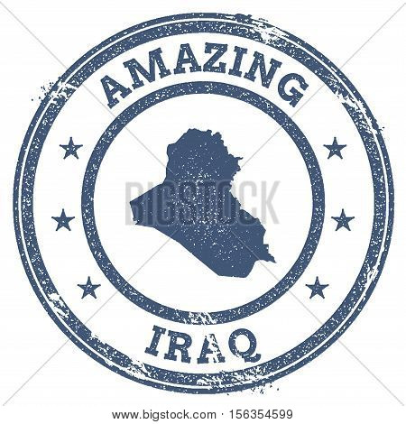 Vintage Amazing Iraq Travel Stamp With Map Outline. Iraq Travel Grunge Round Sticker.