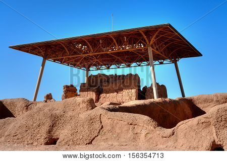 Casa Grande Ruins National Monument of the Pre-columbian Hohokam Indians in Arizona USA