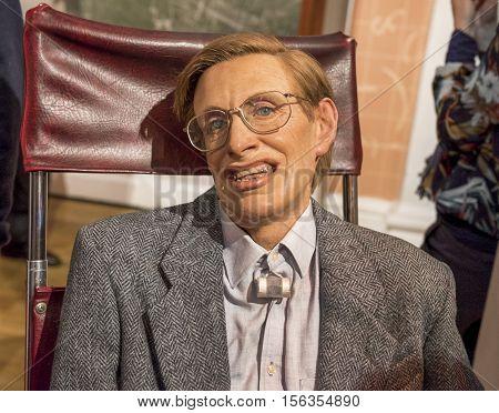London, the UK - May 2016:  Steven Hawking wax figure in Madame Tussaud museum