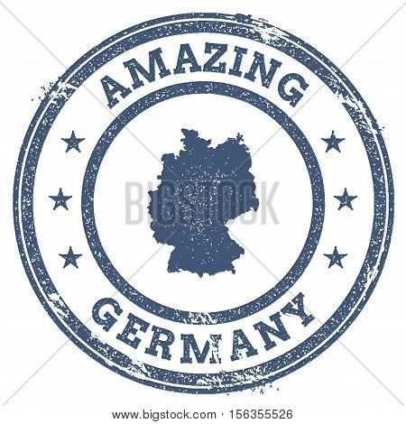 Vintage Amazing Germany Travel Stamp With Map Outline. Germany Travel Grunge Round Sticker.
