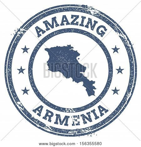 Vintage Amazing Armenia Travel Stamp With Map Outline. Armenia Travel Grunge Round Sticker.