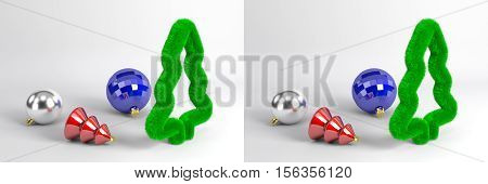 Stereoscopic pair for parallel viewing. Christmas decoration on the white background. 3d rendering.