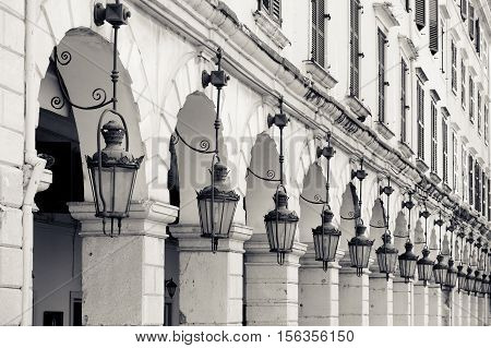 Architecture detail of old lamps and stone arches Kerkyra Corfu Greece