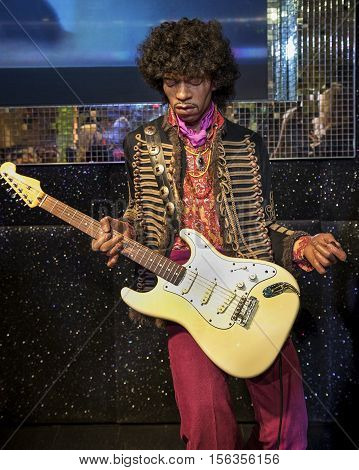 London, the UK - May 2016:  Jimi Hendrix wax figure in Madame Tussaud museum