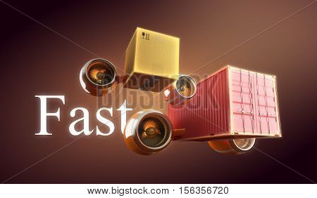 Fast goods delivery in crate, cardboard box and container. Trucking, shipping and transportation. 3d illustration