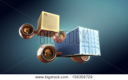 Cargo and container worldwide transportation and local delivery. Fast shipping and trucking. 3d illustration