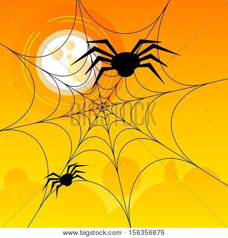 Two spiders on a spiderweb in the daylights. Vector design illustration. Security network concept