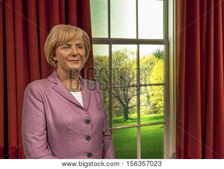 London, the UK - May 2016:  Angela Merkel wax figure in Madame Tussaud museum