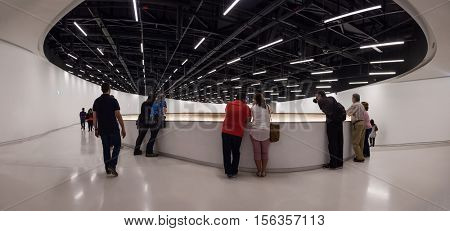 Lisbon, Portugal - October 31, 2016: Interior of the MAAT - Museum of Art, Architecture and Technology. Open since October 5th. Designed by the British architect Amanda Levete