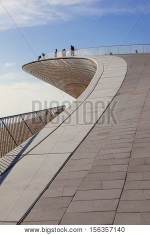 Lisbon, Portugal - October 31, 2016: MAAT â?? Detail of the rooftop of the Museum of Art, Architecture and Technology. Open since October 5th. Designed by the British architect Amanda Levete