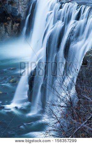 Detail of Upper Messa Falls in Idaho USA.