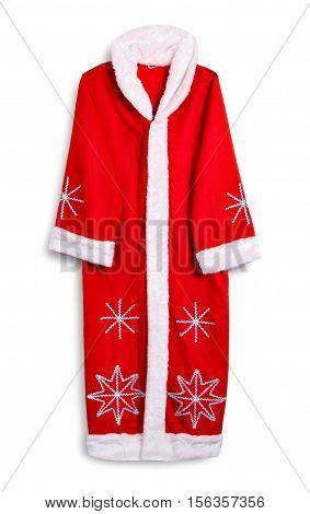 Photo hanging coats Santa, isolated on a white background.