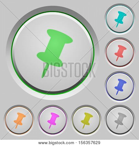 Push pin color icons on sunk push buttons