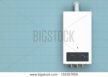 Home gas boiler water heater. 3D rendering