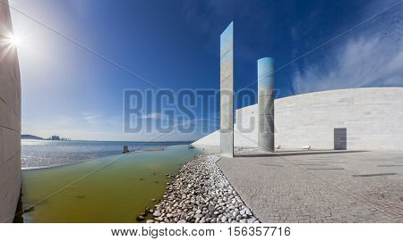 Lisbon, Portugal - October 31, 2016:  Futuristic architecture detail in the Champalimaud Foundation, Centre for the Unknown. Biomedical private research center.