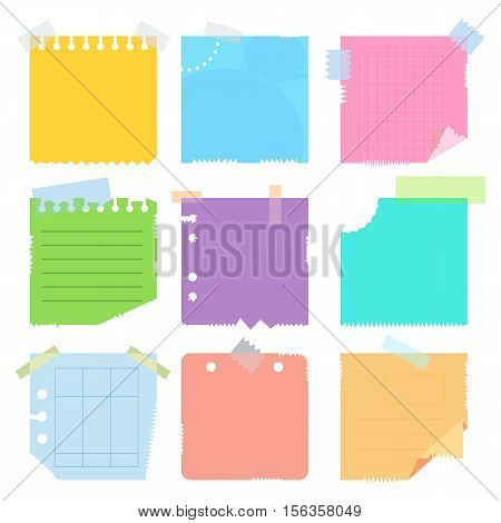 Collection of various crumpled note papers with curled corner and adhesive tape, ready for your message. Flat vector cartoon note papers illustration. Objects isolated on white background.