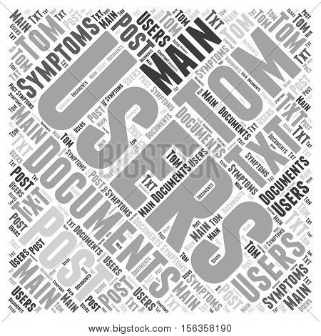 Symptoms of Post word cloud concept text back ground