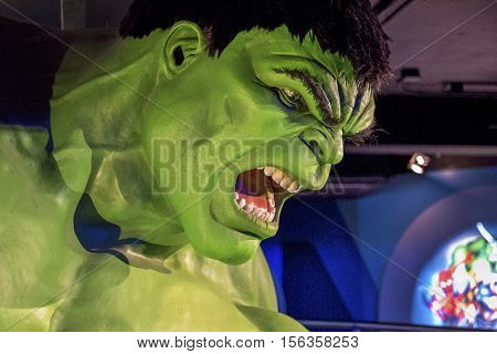 London, the UK - May 2016:  Hulk wax figure in Madame Tussaud museum