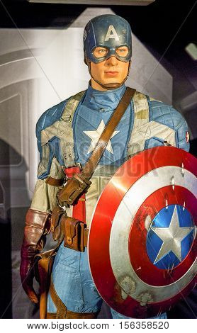 London, the UK - May 2016:  captain America wax figure in Madame Tussaud museum