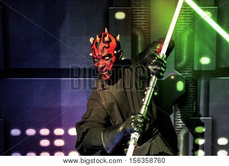 London, the UK - May 2016:  Darth Maul wax figure in Madame Tussaud museum