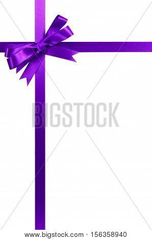 Purple Gift Ribbon Bow Vertical Corner Border Frame Isolated On White.