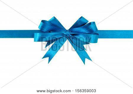 Light Blue Gift Ribbon Bow Straight Horizontal Isolated On White.
