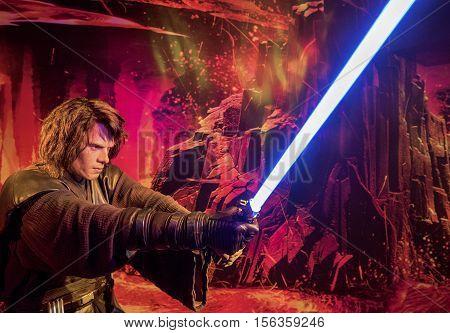 London, the UK - May 2016: Skywalker wax figure in Madame Tussaud museum