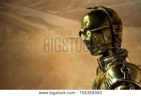 London, the UK - May 2016:  C-2PO wax figure in Madame Tussaud museum