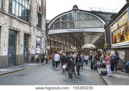 London, the UK -May 2016: at the entrance to Paddington railway station