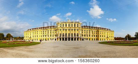 Vienna, Austria, October 14, 2016: Panoramic View Of Schonbrunn Palace In Vienna. Baroque Palace Is