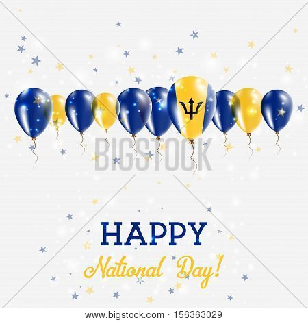 Barbados Independence Day Sparkling Patriotic Poster. Happy Independence Day Card With Barbados Flag